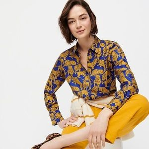 J crew collection silk twill button up shirt lions